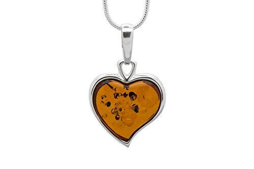 925 Sterling Silver Heart Pendant Necklace with Genuine Natural Baltic Cognac Amber. Chain included - Amber Heart Pendant