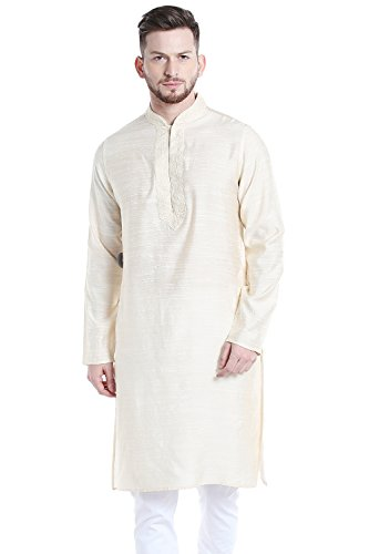 Shatranj Men's Indian Banded Collar Long Kurta Tunic with Embroidered Placket; Light Beige; MD by Shatranj
