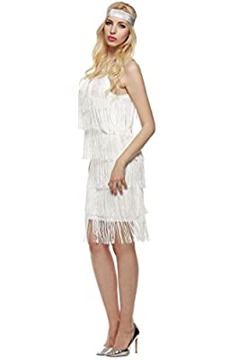 Yealsha Flapper Fringe Costume Tassel Dress Plus Size Sleeveless Dress Plus Size Dresses