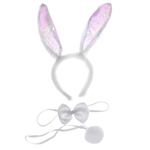 (WSSROGY 3 Pcs Bunny Ears Headband Tail Bow Easter Costume Bunny Costume Kit for Kids Adult)