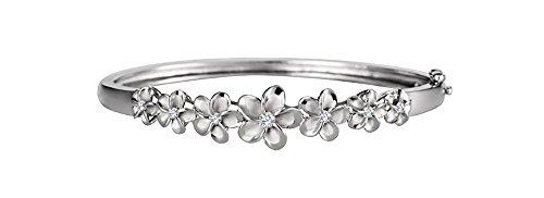(Sterling Silver Cubic Zirconia Seven Plumeria Hawaiian Open Hinge Bangle Bracelet)