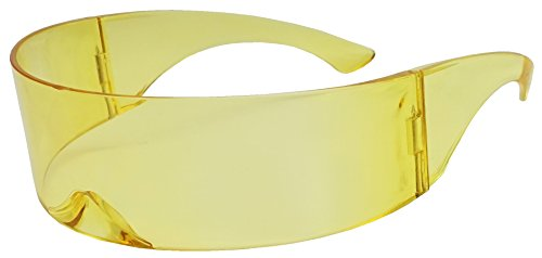 SunglassUP One Piece Futuristic Wrap Around Novelty Cyclops Robocop Sunglasses - Style Futuristic 50s