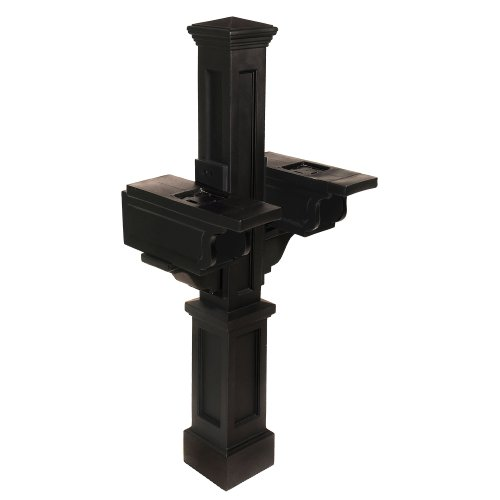 Mayne 5811-BK Rockport Double Mailbox Post, Black