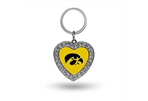 Rico NCAA Iowa Hawkeyes Rhinestone Heart Keychain
