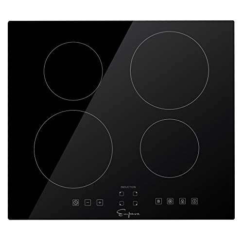 Empava IDCX24 24 Inch Electric Induction Smooth Surface with 4 Burners 240V Cooktops, Black