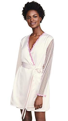 Robe Womens Charmeuse (Flora Nikrooz Women's Showstopper Charmeuse Cover Up with Lace, Mauve, Purple, Off White, Small)