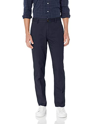 (Amazon Essentials Men's Straight-Fit Wrinkle-Resistant Flat-Front Chino Pant, Navy, 33W x 29L)