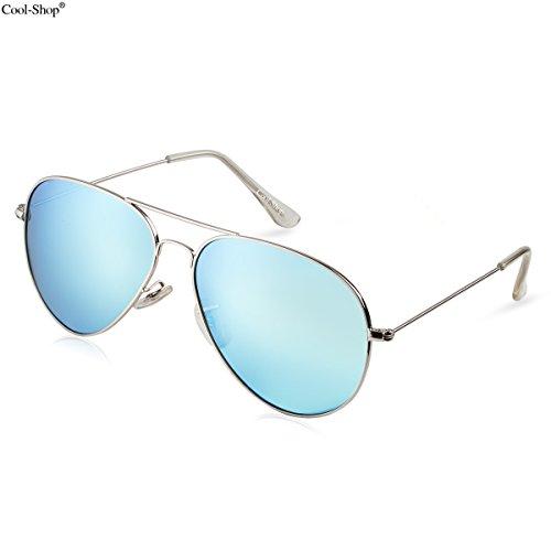 Cool-ShopPremium Classic Metal Frame Full Mirrored Aviator Sunglasses,Aviator Sunglasses (silver-light - Blue Aviators