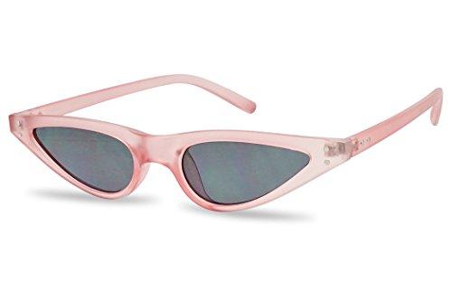 Vinatge Small Narrow Oval Clout Goggle Cat Eye Sunglasses Fashion Rivet Retro Shades (Pastel Pink Frame | Black)