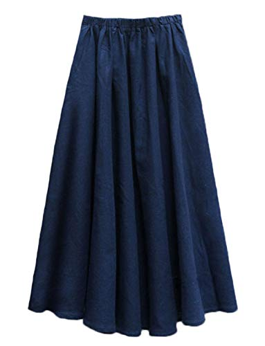 Soojun Women's Solid Cotton Linen Retro Vintage A-line Long Flowy Skirts, Navy, Medium Average