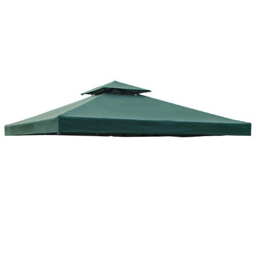 Green 2 Tier Patio Sun Shade 12x12 Ft Garden Canopy Gazebo Replacement Top Polyester Garden Canopy Gazebo Replacement Top Double Tier Waterproof UV Protection Sun Shade for Outdoor Patio Lawn Cover Tent by Generic