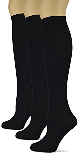 Silky Smooth Knee High Trouser Socks by Sox Trot | Thin Material | Made in USA (Black) 3 Pack