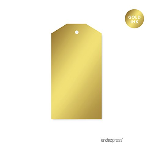 Andaz Press Classic Favor Gift Tags, Metallic Gold Ink, Solid Gold, 12-Pack, Not Gold Foil, For Christmas Gifts, Presents