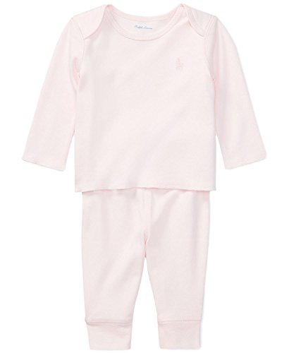Ralph Lauren Baby Girl Cotton Top & Pants Set (Delicate Pink, 6 Months)