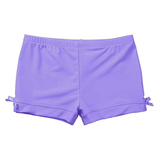 CHICTRY Girls Children Basic Boy Cut Low Rise Short for Dance Sport or Under Dress/Skirt Shorts (2-3, Bowknots Lavender) (Cut Boy Child Short)