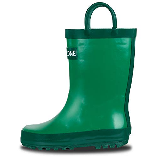 LONECONE Rain Boots with Easy-On Handles for Toddlers and Kids, Grassy Green, 12 Little Kid -