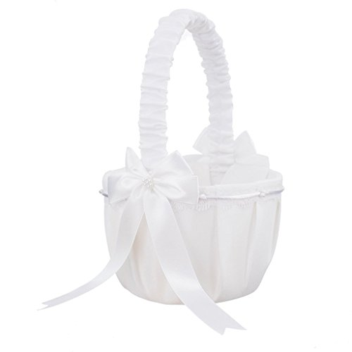Flower Girl Basket Bowknot White Satin Flower Basket for Wedding Bridal Ceremony Party Decoration Supplies (Make Flower Girl Basket)