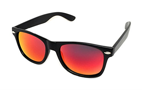 WebDeals - Color Mirror Reflective Lens and Dark Horn Rimmed Large Square Sunglasses (Black Matte / Dark - Red Sunglasses Mirror Lens