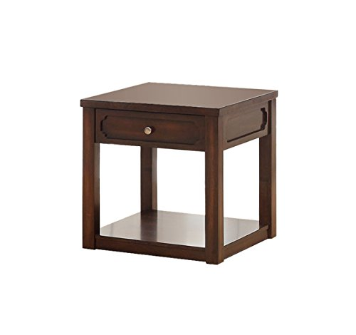(Furniture of America Elsina 1-Drawer End Table, Brown Cherry)