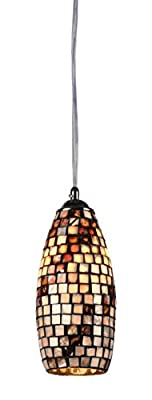 Chloe Lighting CH3CC30BC05-DP1 Moasic Bellona, Mosaic 1 Light Ceiling Mini Pendent 5.3-Inch Shade, Multi-colored