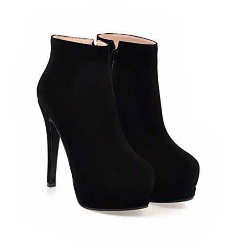 QIN&X La Mujer Tacones Stiletto Round Toe Botines Cortos Zapatos con Plataforma,Negro,35
