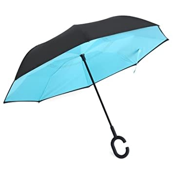 Hastip Rain Protection Windproof Reverse Folding Double Layer Umbrella with C-Shaped Handle