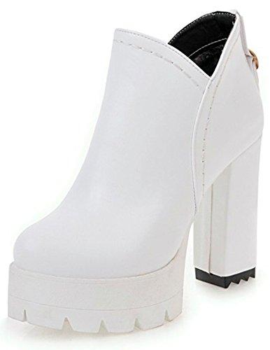 IDIFU Womens Sweet High Chunky Heel Side Zipper Platform Short Ankle Boots White T0qRTh