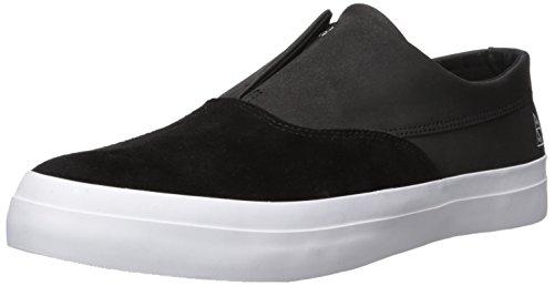 HUF Men's Dylan Slip on Skate Shoe, Black/Black/White, 12 Regular US