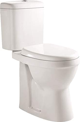 VeeBath Verona Comfort Height Ceramic Push Button Flush Close Coupled Toilet WC Pan & Cistern with Soft Closing Seat