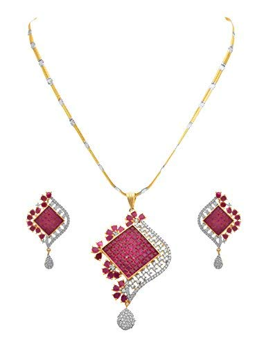 d96053f147 Buy JFL - Fusion Ethnic One Gram Gold Plated Semi Precious Ruby Red Designer  Pendant Set Cz American Diamonds for Women & Girls. Online at Low Prices in  ...