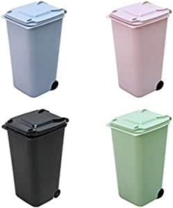 Mini Desktop Trash Can,Small Kitchen Countertop Trash Recycling Containers,Mini Wastebasket 4 Piece Set,Desk Trash Can with Lid,Desktop Garbage Organizer Storage Bin,Pen Cup Holder Office Supplies