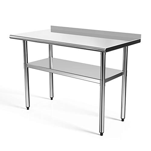 SUNCOO Commercial NSF Stainless Steel Work Table Food Grade Kitchen Prep Workbench Metal Restaurant Countertop Workstation with Adjustable Undershelf 48 in Long x 24 in Deep W/Backsplash from SUNCOO