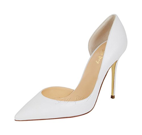 SexyPrey Women's High Heel Sandals Pointed Toe D'orsay Pumps Stiletto Dress Court Shoes White Pu IHd9PQU
