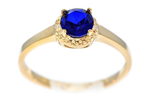 Elizabeth Jewelry Created Blue Sapphire Diamond Round Ring 14Kt Yellow Gold Plated Over .925 Sterling Silver