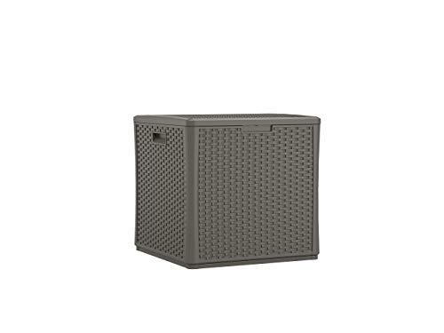(Suncast BMDB60ST Resin Wicker 60 Gallon Storage Cube Deck Box, Stoney)