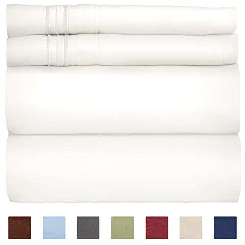 Queen Size Sheet Set - 4 Piece Set - Hotel Luxury Bed Sheets - Extra Soft - Deep Pockets - Easy Fit - Breathable & Cooling Sheets - Wrinkle Free - Comfy - White Bed Sheets - Queens Sheets - 4 PC