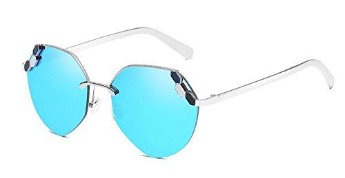polarisées rond en inspirées vintage cercle Glacier lunettes retro style soleil métallique Lennon de du Bleu qxfn7paEw