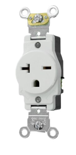 Volt Single Receptacle (Leviton 5461-W 20-Amp 250-Volt NEMA 6-20R, 2P, 3W, Narrow Body Single Receptacle, White)