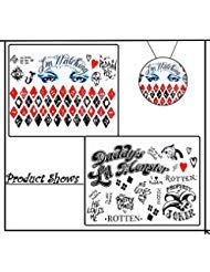 (Temporary Tattoos, Harley Quinn Joker Sheets Suicide Squad for Halloween Costume Cosplay Props 4)