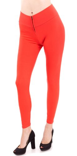 New Ladies Zipper Front High Waist Soft Touch Legging, Multiple Colors Available free shipping