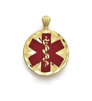 Émail 14 Carats Pendentif Alerte Médicale JewelryWeb