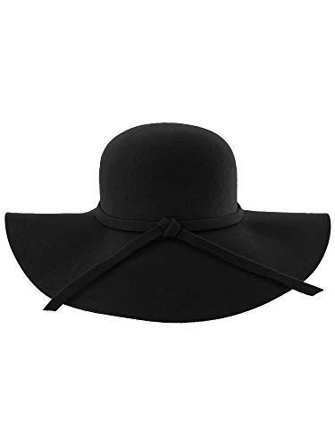 Luxury Divas Black Wide Brimmed Wool Floppy Hat