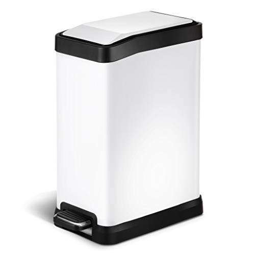 Rectangular Pull Foot Step Two (Home Zone Stainless Steel Kitchen Trash Can with Rectangular Design and Step Pedal | 8 Liter / 2 Gallon Storage with Removable Plastic Trash Bin Liner, White)