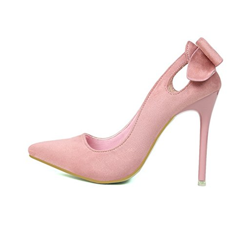 Cybling Mode Dames Stiletto Hakken Jurk Pumps Voor Huwelijkslippen Op Puntschoen Bowtie Schoenen Roze