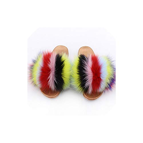 (Real Fox Fur Slippers Slides Open Toe Flip Flops Women's Furry Fluffy Slippers House Shoes Mule,colors3,9)
