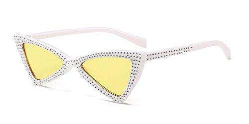 Soleil De Femmes lentille cadre Blanc Chat Uv400 Classique Œil jaune Lunettes Xfentech Triangle Rétro 1qHxzR