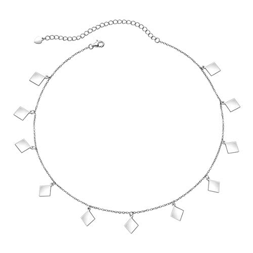 Sterling Silver Jewelry Choker Necklace Pendant Disc Chain Statement Necklace For Women Girls 13+3 inches ()