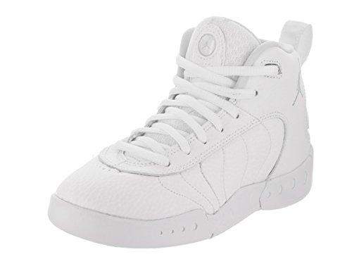 (Boy's Jordan Jumpman Pro Basketball Shoe White/Pure Platinum-Metallic Silver 11C)