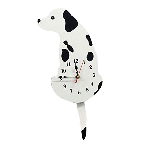 Flameer Cartoon Acrylic Wagging Swinging Tail Puppy Dog Home Cafe Shop Decor Wall Clock Ornament Prop Decorations - White