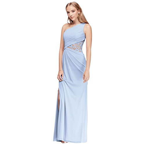(One-Shoulder Mesh Bridesmaid Dress with Lace Inset Style F19419, Ice Blue,)